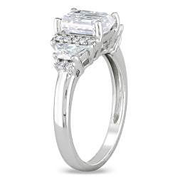 Miadora 14k White Gold 2 2/5ct TDW Certified Emerald Cut Diamond Ring (G, SI2)