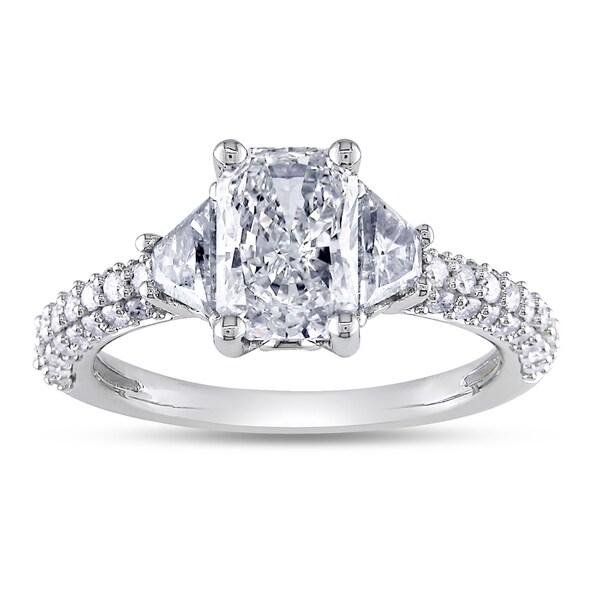 14k White Gold 2 1/3ct TDW Certified Radiant Diamond Ring (H, VS2)
