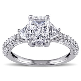14k White Gold 2 1/3ct TDW Certified Radiant Diamond Ring (H, VS2)