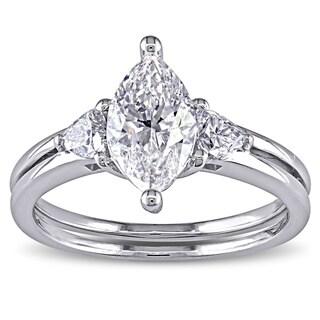 Miadora 14k Gold 1 1/2ct TDW Certified Marquise Cut Diamond Ring (F, SI2)