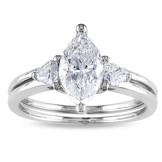 14k Gold 1 1/2ct TDW Certified Marquise Cut Diamond Ring (F, SI2)