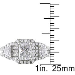 Miadora 14k White Gold 2ct TDW Cushion-cut Diamond Ring (H-I, I1-I2)