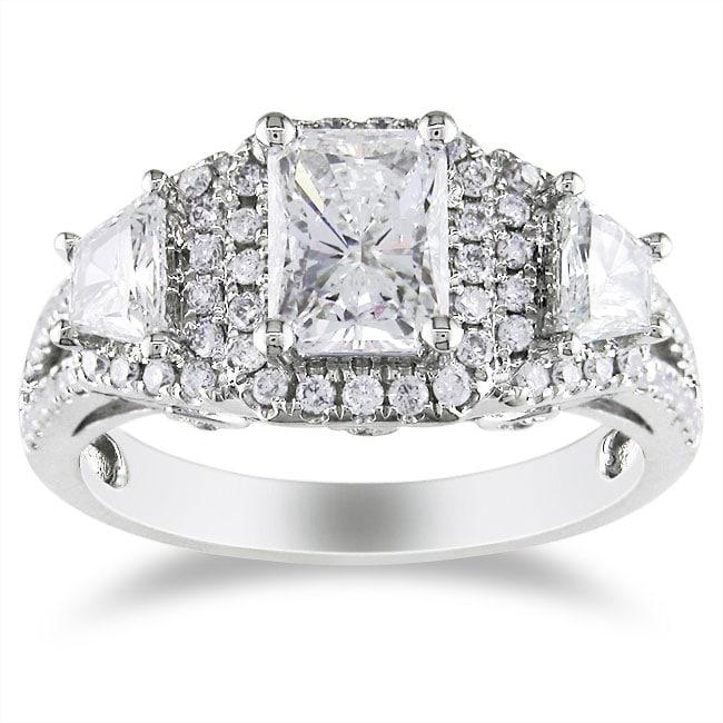 Miadora 14k White Gold 1 3/4ct TDW Certified Radiant-cut Diamond Ring (F, SI2)