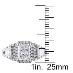Miadora 14k White Gold 1 3/4ct TDW Certified Radiant-cut Diamond Ring (F, SI2)