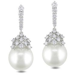 Miadora 14k Gold South Sea Pearl and 1ct TDW Diamond Earrings (G-H, SI1-2) (10-12 mm)