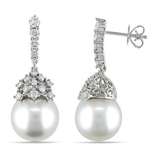 Miadora 14k Gold South Sea Pearl and 1ct TDW Diamond Earrings (G-H, SI1-2) (10-12 mm)