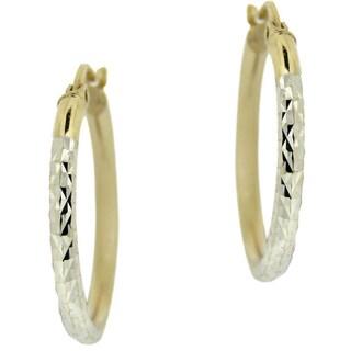 Mondevio 18k Yellow Gold and Sterling Silver 25-mm Diamond-cut Hoop Earrings