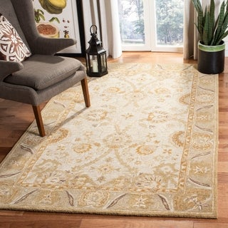 Safavieh Hand-made Ancestry Silver/ Light Brown Wool Rug (6' x 9')