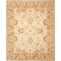 Hand-made Ancestry Silver/ Light Brown Wool Rug (8' x 10')