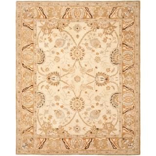 Safavieh Hand-made Ancestry Silver/ Light Brown Wool Rug (9' x 12')