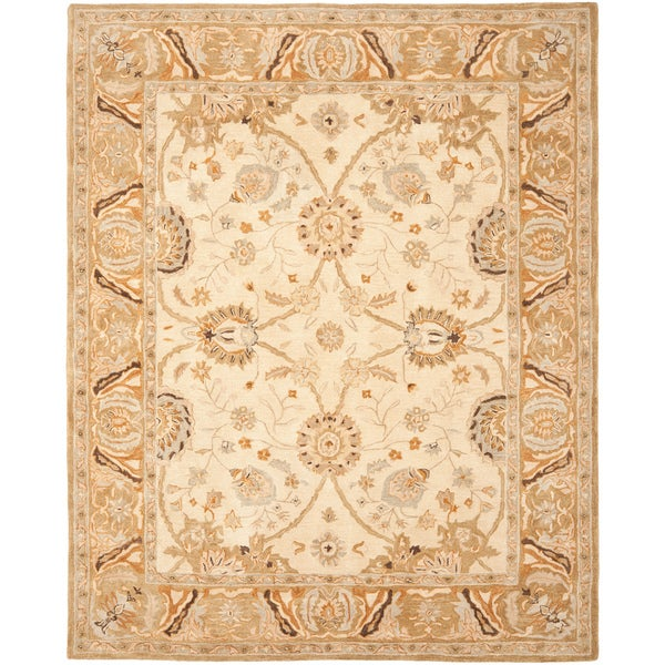 Safavieh Hand-made Ancestry Silver/ Light Brown Wool Rug (9' x 12')
