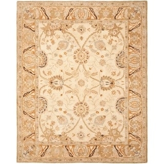 Hand-made Ancestry Silver/ Light Brown Wool Rug (9' x 12')