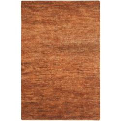 Hand-knotted Vegetable Dye Solo Salmon Red Hemp Rug (5' x 8')