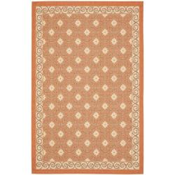 "Poolside Terracotta/Cream Indoor/Outdoor Area Rug (4' x 5'7"")"