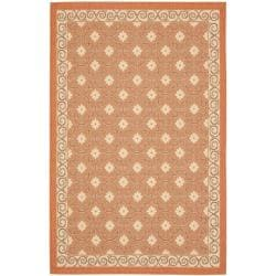 Safavieh Poolside Terracotta/Cream Indoor-Outdoor Floral Rug (5'3 x 7'7)
