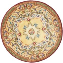Handmade French Aubusson Loubron Gold Premium Wool Rug (8' Round)