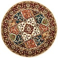 Handmade Heritage Panels Multi/ Red Wool Rug (3'6 Round)