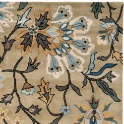 Handmade Botanical Gardens Green Wool Rug (5' x 8')