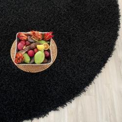 Handmade Posh Black Shag Rug (5' Round)