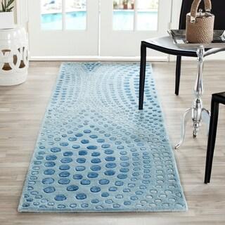 Safavieh Handmade Deco Wave Light Blue New Zealand Wool Rug (2'6 x 12')