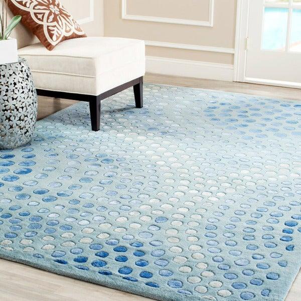 Safavieh Handmade Deco Wave Light Blue New Zealand Wool Rug (7'6 x 9'6)