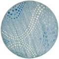Handmade Deco Wave Light Blue New Zealand Wool Rug (6' Round)