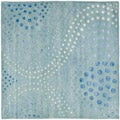 Handmade Deco Wave Light Blue New Zealand Wool Rug (6' Square)