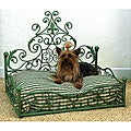 Distressed Blue Antique Scroll Iron Pet Bed