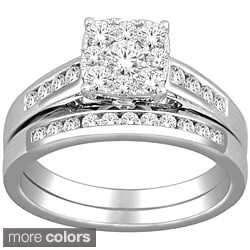 De Couer 10k White Gold 3/4ct TDW Diamond Bridal Ring Set (H-I, I2)