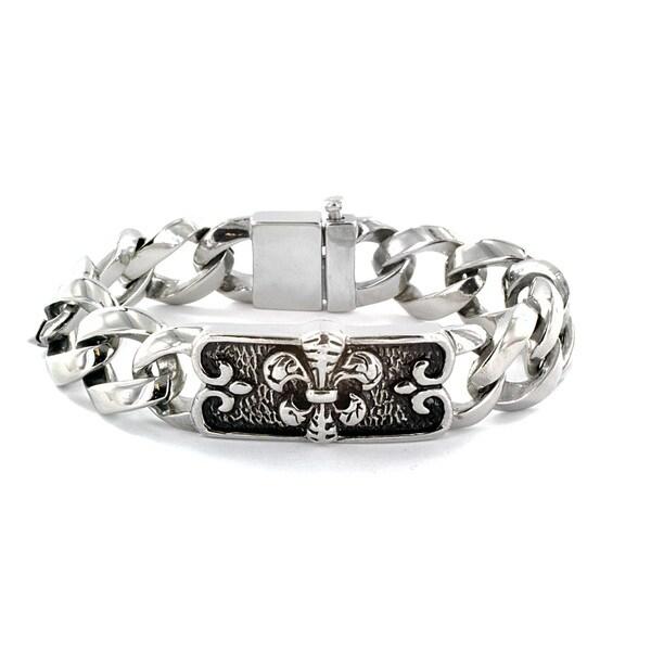 Stainless Steel Fleur de Lis Curb Chain Bracelet