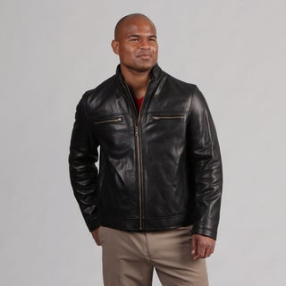 Cole Haan Men's Zip Front Leather Coat