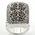 City Style Silvertone Antiqued Filigree Ring