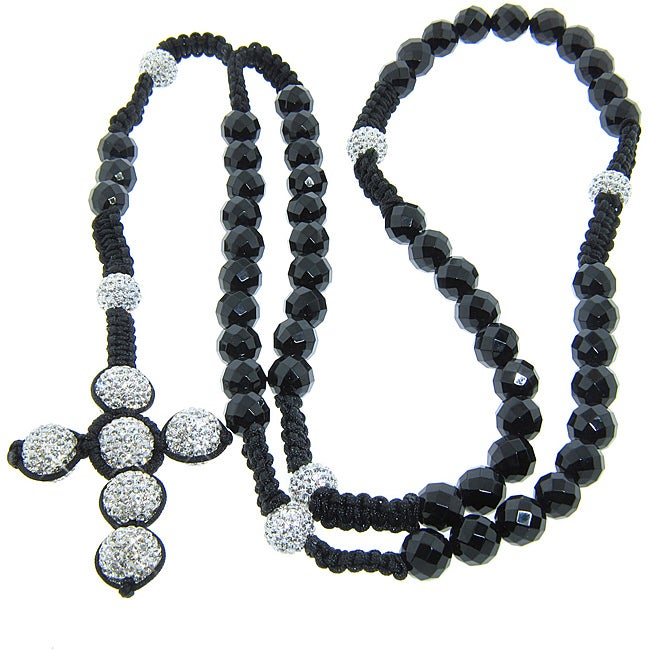 Eternally Haute Onyx and Czech Crystal Macrame Rosary Necklace