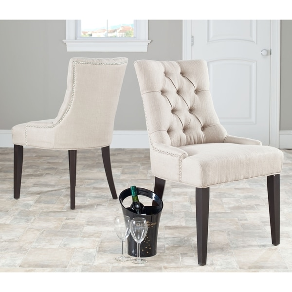 Safavieh Marseille Beige Linen Nailhead Dining Chairs (Set of 2)