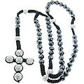 Eternally Haute Hematite and Czech Crystal Macrame Rosary Necklace