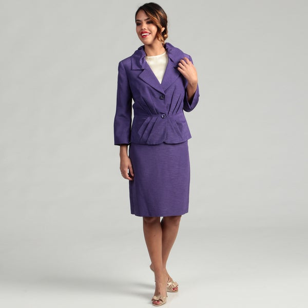Isabella Women's Ruffle Notch Collar Skirt Suit