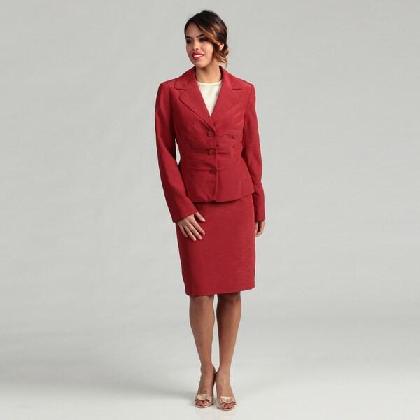Isabella Women's Notch Collar 3-button Pleated Waist Skirt Suit