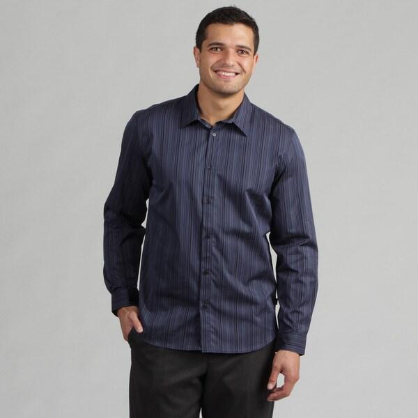 Calvin Klein Men's Cadet Blue Striped Woven Shirt FINAL SALE