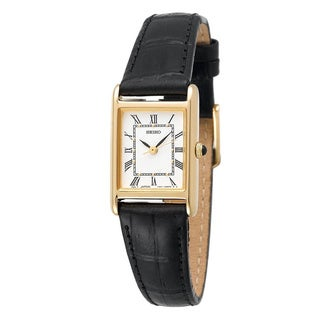 Seiko Women's SXGN42 Black Leather Dress Watch