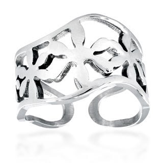 Stainless Steel Wavy Flower Cast Ring