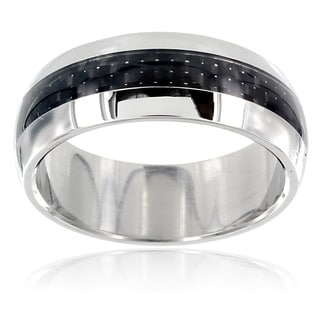 Stainless Steel Domed Carbon Fiber Inlay Ring