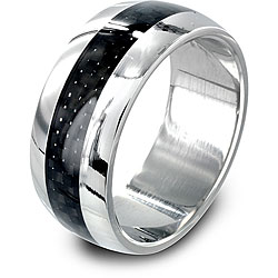 West Coast Jewelry Stainless Steel Domed Carbon Fiber Inlay Ring