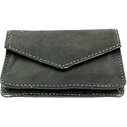 Charcoal-gray Leather Multipurpose Compact Credit Card Holder