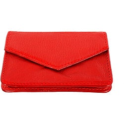 Red Leather Multipurpose Top-flap Snap-closure Credit Card Holder
