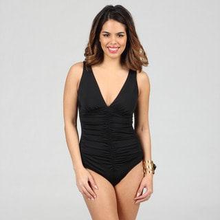 Jantzen Classics Deep V-neck Shirred Black 1-piece Swimsuit