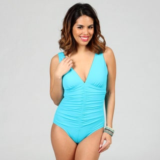 Jantzen Classics Deep V-neck Shirred Teal 1-piece Swimsuit