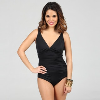 Jantzen Classic Black Shirred One-piece Swimsuit with Deep V-neck