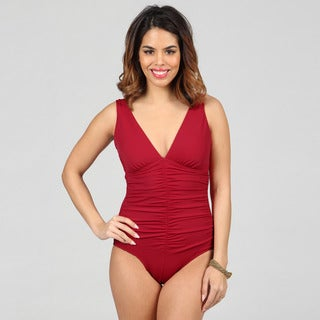 Jantzen Classics Deep V-neck Shirred Red 1-piece Swimsuit