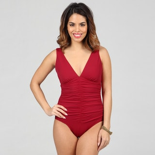 Jantzen Classics Deep V-neck Shirred Red One-piece Swimsuit