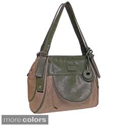 Rina Rich 'Michelle' Canvas/ Faux Leather Shoulder Bag